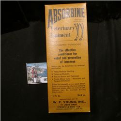 "Original box with Amber bottle ""Absorbine Veterinary Liniment…W.F.Young, Inc….Springfield, Mass."", t"