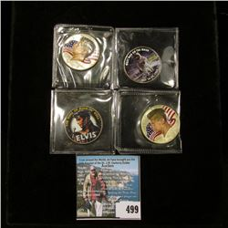 "(4) Enameled Kennedy Half-Dollars, (2) are  40% Silver, includes ""The King of Rock and Roll Elvis"","