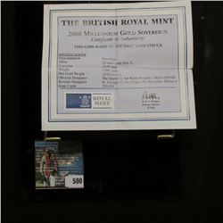 "Special Cased ""The British Royal Mint 2000 Millennium Gold Sovereign"" with certificate of authentici"
