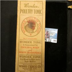 """Original box with Amber bottle """"Wonder Poultry Tonic For Making the Best Egg Producer and Poultry Fo"""
