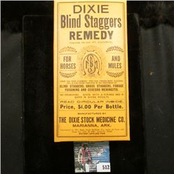"""Empty Box """"Dixie Blind Staggers Remedy for Horses and Mules…Marianna, Ark."""""""