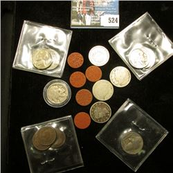 (5) O.P.A. Red Point Tokens from WW II; (4) Liberty Nickels; (3) Indian Cents; (4) Buffalo Nickels,