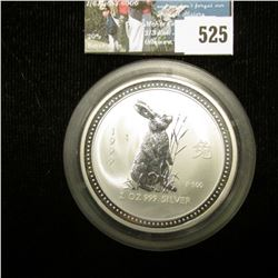 1999 Year of the Rabbit Australia 2 Ounce .999 fine Silver Reverse Proof Coin, encapsulated.