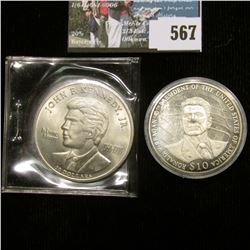 2003 Liberia $10 Ronald Reagan 40th President of the United States & 1999 John F. Kennedy Republic o