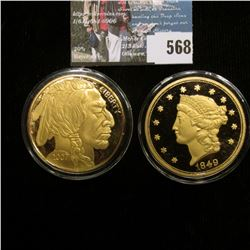 Proof Gold-plated copies 1849 $20 Gold Liberty & 2007 Gold Buffalo. Both encapsulated.