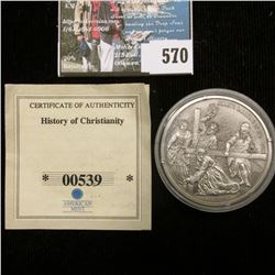 """Christ's Carrying of the Cross"" .999 Fine Silver 20 Grams Coin, 40 mm, encapsulated."