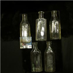 (5) Old cork stoppered Medicine Bottles, all empty.