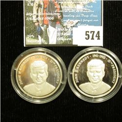 "Pair of ""John F. Kennedy 1861-1963 35th President"" .999 Fine Silver Medal, encapsulated."