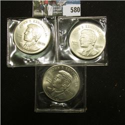 (3) 2000 $10 Republic of Liberia John F. Kennedy 1960-1999 Memorial Commemorative, all BU.