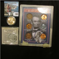 Copy of 1861 Confederate Half Dollar Tribute Coin in original holder; 2015 D John F. Kennedy Preside