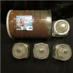 (4) Medicine bottles with glass lids and a small can full of Rubber Corks.