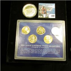 "2000 Republic of Liberia Five Dollar ""Mayflower"" Commemorative, BU, encased; & 2003 Gold Layered Sta"