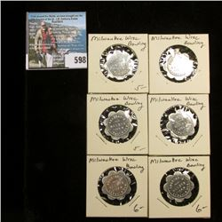 "(6) Uncirculated ""Good For/10c/In trade"", ""Arleigh's/Alleys/1108 W./Lincoln Ave."" Tokens."
