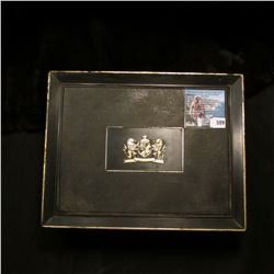"Plastic Cigar Box ""25c Mark IV Magnates""; small Pink box with three Stick Pins; & (5) Uncirculated r"