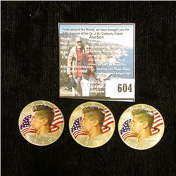1967 P, 68 D, & 69 D 40% Silver Kennedy Half-Dollars, all three with enameled heads and flag in back