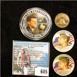 Pair of 1968 D 40% Silver Kennedy Half-Dollars, both with enameled heads and flag in background, as