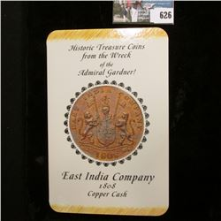 """Historic Treasure Coin from the Wreck of the Admiral Gardner! East India Company 1808 Copper Cash"","