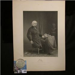 "Steel engraving of U.S. Politician Henry Clay. ""Likeness from a Portrait in the possession of his fa"