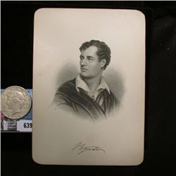 "Steel engraving of famous poet Lord Byron, 1788-1824, 5"" x 7""; & 1922 S U.S. Peace Silver Dollar, VF"