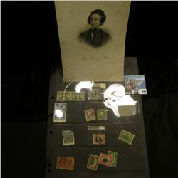 "6.5"" x 9"" Steel Engraving of famous Poet, Epes Sargent, 1813-1880; & a group of rare U.S. Stamps, wh"