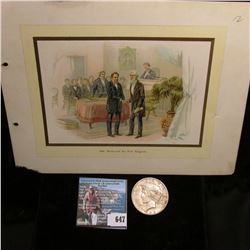 "Steel Plate engraved color added print of ""1844. Morse and the First Telegram""; & 1922 S U.S. Peace"