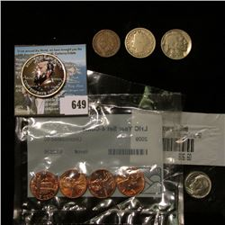 Four-piece Set of 2009 Lincoln type Cents in a Littleton Holder, BU; Colorized Kennedy Half Dollar ""