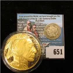 1866 U.S. Three Cent Nickel, VG  in a Littleton Coin holder; & a copy of a 2007 Tribute Proof $50 Go