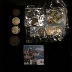 Gold-colored Ingot on a Keyring; (3) Three-Piece Type Sets (of Supposedly Rare Coins); & a World War