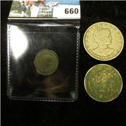 1901 Brazil 400 Reis Coin; 1981 Mexico Five Peso; and a nearly 2,000 year olf Coin from the era of C