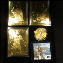 """Duke Snider"", ""Willie Stargell"", & ""Babe Ruth"" 24k Gold-plated Baseball Cards; & a cased Pope John"