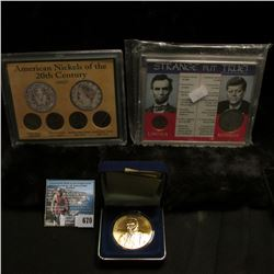 "Cased Set ""Strange But True"" containing a 1973 D Cent, BU & 1968 D Silver Half-Dollar, BU; four-piec"