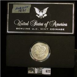 1921 D U.S. Morgan Silver Dollar in a Special Holder, Choice AU.