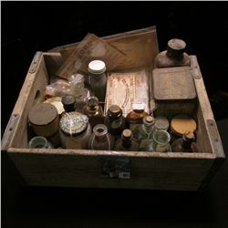 "Wooden Pop Crate full of Old Medicine Bottles and Memorabilias.  Includes some ""Rexall Store Co-Oper"