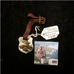 Mother-of-Pearl John Deere Watch Fob with leather strap.