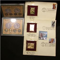 "(3) Different First Day of Issue Covers from 1996-2003 with 22K Gold Stamps; & (2) ""American Nickels"