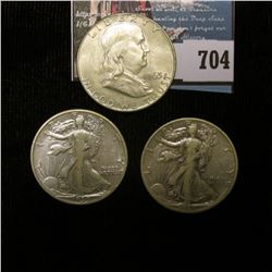 1939 P EF & 45 D VF Walking Liberty Half Dollars; & 1963 D Franklin Half Dollars, BU. With Littleton