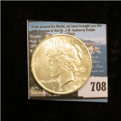 1922 P U.S. Peace Silver Dollar, AU with American Historic Society paperwork.