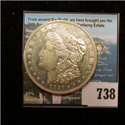 1921 D U.S. Morgan Silver Dollar, EF. With C.O.A. from the American Historic Society.