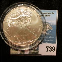 2008 U.S. American Silver Dollar One Ounce .999 Fine Silver. Brilliant Uncirculated. Encapsulated.