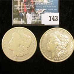 Pair of 1921 S U.S. Morgan Silver Dollar, VG-EF. With C.O.A.s from the American Historic Society.