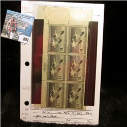 1947 RW 14 Mint Plate block of Six  $1 Federal Migratory Waterfowl Stamps, Serial No. 159464, Not hi