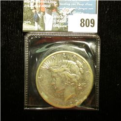 1922 S U.S. Peace Silver Dollar, Very Fine, complete with C.O.A. from the American Historical Societ