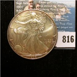 1996 U.S. American Silver Dollar One Ounce .999 Fine Silver. Brilliant Uncirculated, light amber and