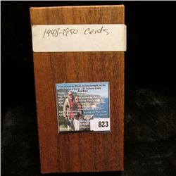 """1 1/2"""" x 1 1/2"""" Double Row Coin Stock box full of carded Lincoln Cents dating 1948-50. Some high gra"""