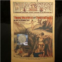 """July 18, 1919 ""Wild West Weekly"" Magazine and a 1923 P U.S. Peace Silver Dollar, VF."