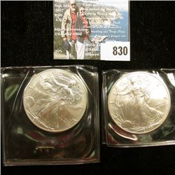 2001 & 2004 U.S. American Silver Dollar One Ounce .999 Fine Silver. Brilliant Uncirculated. One with