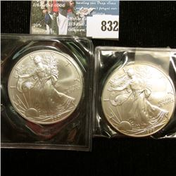 1999 & 2001 U.S. American Silver Dollar One Ounce .999 Fine Silver. Brilliant Uncirculated. One with