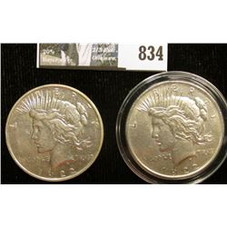 1922 P Choice AU & 1922 D U.S. Peace Silver Dollar, VF both with C.O.A.s from the Aermican Historica