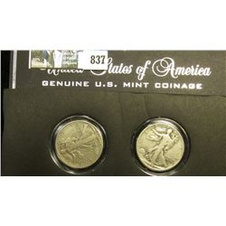 Pair of World War II Walking Liberty Half Dollars in a special holder, both grade Fine to VF.