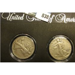 Pair of World War II Walking Liberty Half Dollars in a special holder, both grade Very Good to Fine.